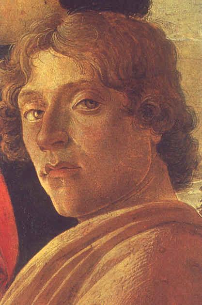 """Sandro Botticelli (Autoportrait)-  Detail de """" L'Adoration des Rois Mages """" 1474  - (c) Galleria degli Uffizi - Florence"""