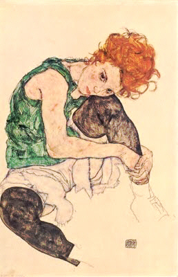 "Egon Schiele : "" Femme assise à la jambe repliée"" 1917 © National Gallery- Prague"