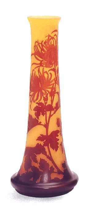 emile gall vase en verre cam e aux motifs de feuilles de. Black Bedroom Furniture Sets. Home Design Ideas